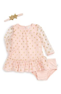 Glittery golden stars twinkle on the charming mesh overlay of this blush-hued dress featuring a ruffled hem. Sheer sleeves add to the dainty aesthetic and a coordinating headband enhances the star power of this adorable look.