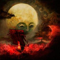 ilustración luna, barco, bote, velas, mar de fuego, faro, fantasía, olas.