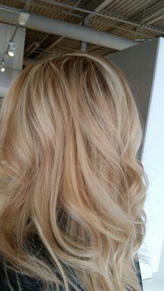 Dimensional blonde highlights Strawberry blonde highlights