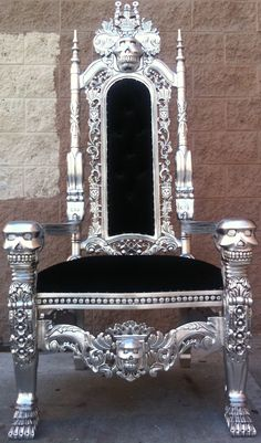 Horde King's Throne  Silver Leafing Skull Skeleton King Chair Throne by VENETIANSOCIETY, $1200.00
