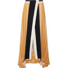Zeus+Dione Anthea crepe-trimmed silk-blend jacquard maxi skirt (49.770 RUB) via Polyvore featuring skirts, wraparound skirt, jacquard skirt, floor length skirt, long orange skirt и long wrap around skirt
