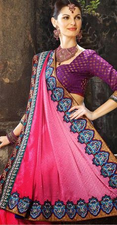 $77.97 Pink Stone Work Faux Georgette Saree 25206