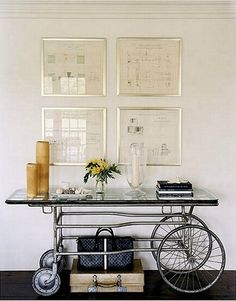 vintage medical gurney repurposed into hallway console table