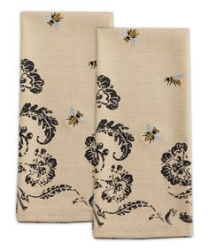 Busy Bees Embroidered Dish Towel - Set of Two #zulily #zulilyfinds