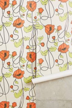 Anthropologie Draping Poppies Wallpaper