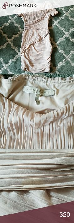 HALSTON HERITAGE Ruched Dress Size 4 Good condition with some small staining as shown, dry cleaning may be able to get then right out. Beautiful dress! Halston Heritage Dresses