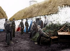 An Irish family evicted from their home in county Clare by their Landlord and the Royal Irish constabulary during the Irish Land War, 1879.