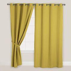 Olive Green Bori Cotton Grommet Top Curtain | World Market