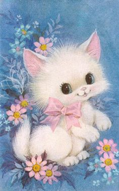 1970s Greeting Card - Big Eyed Kitten by The Woman in the Woods, via Flickr  Cute kittens are nothing new...