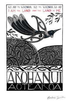 "Check out Amber Smith Print ""I am the Land"" at New Zealand Fine Prints Maori Words, Maori Symbols, Maori Patterns, Zealand Tattoo, Maori Designs, New Zealand Art, Nz Art, Maori Art, Kiwiana"