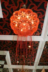A Ceiling mounted Red Flower of Life in a 'hall of mirrors'. Hallway Lighting, Rustic Lighting, Vintage Lighting, Pendant Lighting, Chandelier, Small Kitchen Lighting, Kitchen Lighting Design, Farmhouse Kitchen Lighting, Interior Styling