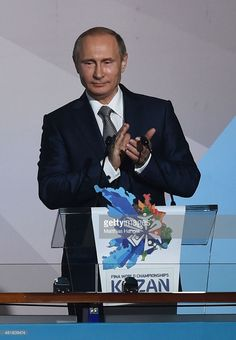 Vladimir Putin, President of Russia applauds during the Opening Ceremony of the 16th FINA World Championships at TatNeft Arena on July 24, 2015 in Kazan, Russia.
