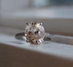 4.2ct Oval champagne peach sapphire diamond ring by EidelPrecious, $6500.00. LOVEEEE