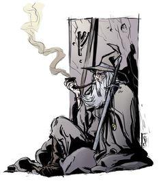 smokin' gandalf color by MrHarp.deviantart.com on @deviantART