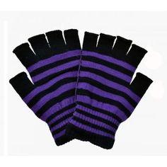 Stripe Fingerless Gloves - Various Colors