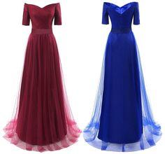 Women's Half Sleeves Tulle Long Formal Bridesmaid Dresses