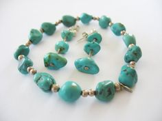Turquoise Bracelet and Earrings Set Sterling Silver by gussiegurl