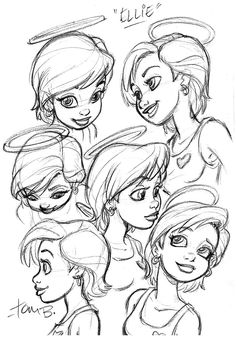 Ellie Head Shots by *tombancroft on deviantART ✤ || CHARACTER DESIGN REFERENCES | Find more at https://www.facebook.com/CharacterDesignReferences if you're looking for: #line #art #character #design #model #sheet #illustration #expressions #best #concept #animation #drawing #archive #library #reference #anatomy #traditional #draw #development #artist #pose #settei #gestures #how #to #tutorial #conceptart #modelsheet #cartoon