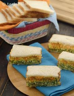 Tricolor Sandwiches recipe | Step by Step recipes for Kids | by Tarla Dalal | Tarladalal.com | #2599