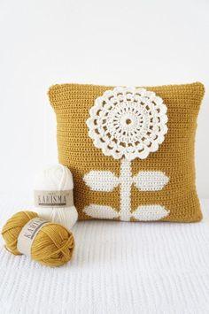 Mustard Flower Cushion Pillow via Craftsy