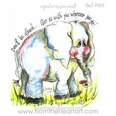 Jungle: Elephant Print (Joshua – From the Heart Art Bible Verse Art, Scripture Quotes, Bible Scriptures, Joshua Bible, Joshua 1, Christian Art, Christian Quotes, Illustrated Faith, Elephant Print