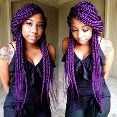 Purple braids - Wow! - http://www.blackhairinformation.com/community/hairstyle-gallery/braids-twists/purple-braids-wow/ #braids #purplebraids #lovethetat
