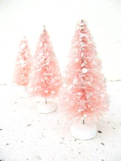 visions of sugarplums . three cotton candy pink glittered bottlebrush trees