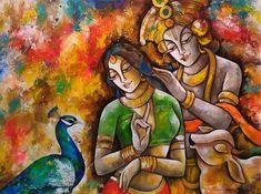 Paintings Online, Indian Art Paintings, Online Painting, Acrylic Paintings, Krishna Radha, Lord Krishna, Mural Art, Murals, Art Gallery In Delhi