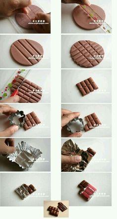 Chocolat fimo ~~ fimo marron / emporte pièce / papier aluminium