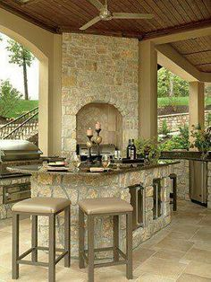 House outdoor kitchen want this in my beach house I want a patio like this Backyard oasis with copper hot tub and waterfall pool Outdoor Rooms, Outdoor Living, Outdoor Kitchens, Outdoor Showers, Outdoor Patios, Backyard Patio, Patio Roof, Outside Living, Waterfront Homes