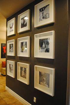 Timeline wall gallery using Ikea frames ~ The House Undone: New Photo Wall Photowall Ideas, Ikea Frames, Box Frames, Hallway Decorating, Decorating Ideas, Blank Walls, Big Blank Wall, Photo Displays, Display Photos