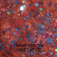 """@Tawdry Terrier """"Sunset Bitch"""" #macro - available at http://www.etsy.com/shop/TawdryTerrier #nailpolish #indienailpolish #tawdryterrier"""