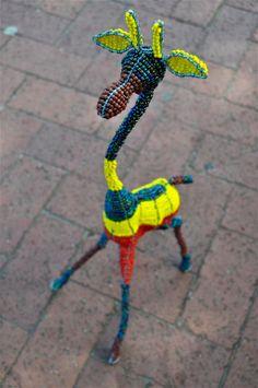Wire & bead giraffe sculpture African handcraft by akwaabaAfrica, $59.00 Giraffes, Beads And Wire, Wire Art, African, Sculpture, Ceramics, Unique Jewelry, Handmade Gifts, Artist