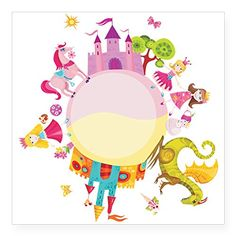 Square Sticker White 5 x 5 Inch Princess Prince Dragon Kingdom >>> ** AMAZON BEST BUY **