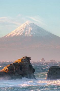 Rough Sea and Mount Fuji, Shizuoka, Japan.