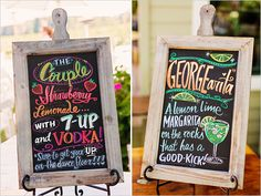 colorful signature drink signs - use chalk markers to get them this vivid