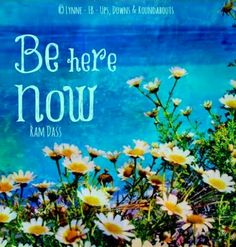 Be here now quote via Ups, Downs, & Roundabouts at www.Facebook.com/UpsDownsRoundabouts