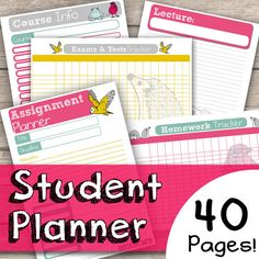 Student Planner | Organised College Planner - 40 Page Bundle - Cute Hand Drawn Animal Illustrated - Instant Download pdf