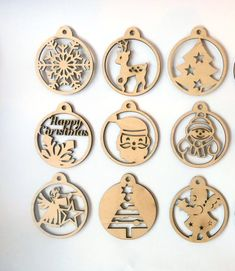 Christmas Papercut Templates Set of 12 Christmas Decoration Christmas Wood Crafts, Christmas Candles, Christmas Ornaments, Snowflake Ornaments, Laser Cutter Ideas, Laser Cutter Projects, Neli Quilling, Theme Noel, Wood Ornaments