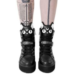 Killstar. Dreamin' of Japanese streets and the bright moonlight. Gettin' into the kawaii vibes with the 'Keiko Kitty' flats - faux leather with round toe; with statement kitty faces to front and cosmic lining. Giving you superior comfort whilst adding some purrfection to everyday outfits. Match with yer daily routines; you need these right meow!