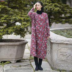 Women long sleeve printing loose cotton linen dress