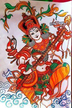 Saraswati devi 67 Saraswati Painting, Madhubani Painting, Kalamkari Painting, Madhubani Art, Kerala Mural Painting, Indian Art Paintings, Bird Paintings, Dancing Drawings, Art Drawings