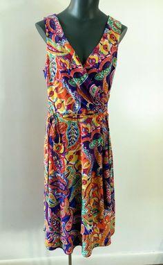cda652100e Ralph Lauren Sleeveless Faux Wrap Stretch Knit Dress Size M Abstract Print