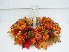 Fall Silk Flower Arrangement,Table Centerpiece, Glass Hurricane Lamp, Jan's Flowers and Frills on eBay.