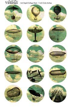 "1"" circle airship digital collage sheet freebie Printable Labels, Free Printables, Steampunk Images, Bottle Cap Crafts, Bottle Caps, Bottle Cap Images, Craft Free, Digital Collage, Retro Vintage"