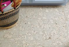 Gray Toned Cork Flooring // Looks like Italian Marbled Paper
