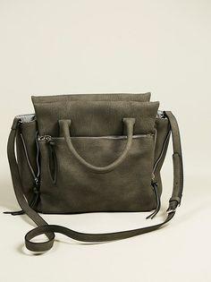 (school bag?) in charcoal green