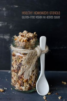 This easy Healthy Homemade Granola recipe is low in sugar and filled with wholesome goodness of nuts, seeds, and other crunchy bits to make for the most satisfying breakfast, or snack. It's also vegan and gluten-free.