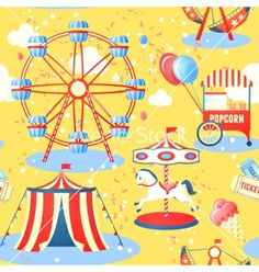 Amusement park seamless pattern vector by macrovector on VectorStock®