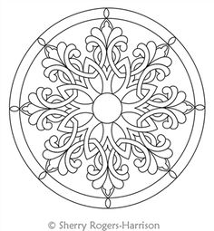 Digital Quilting Design Celtic Snowflake Medallion with Circles by Sherry Rogers-Harrison.